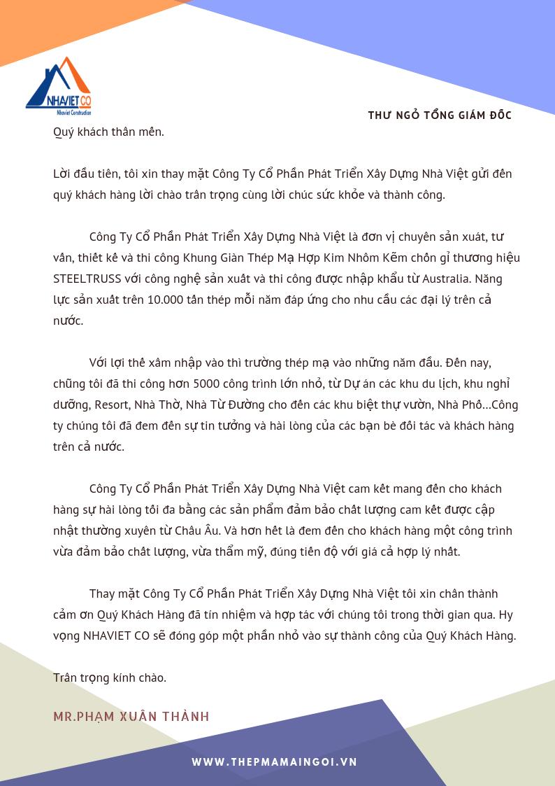 thư ngỏ tổng giám đốc Nhà Việt