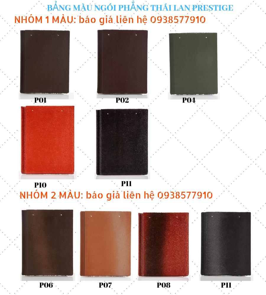 bảng giá ngói lợp nhà các loại, bảng màu ngói phẳng Thái Lan Prestige